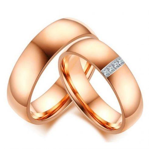 Női karikagyűrű, nemesacél, arany színű, 7-es méret