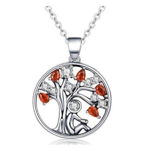 Ezüst nyaklánc életfa medállal, piros
