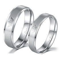 Női jegygyűrű, karikagyűrű, rozsdamentes acél, ezüstszínű, 10-es méret