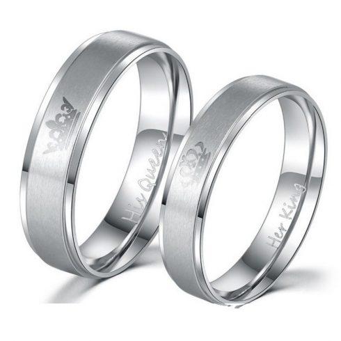 Női karikagyűrű, nemesacél, ezüstszínű, 10-es méret