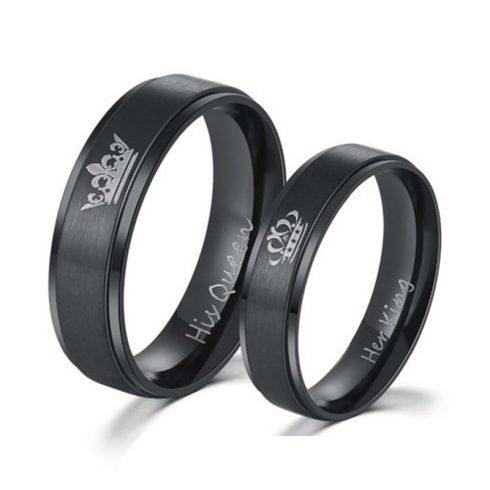 Női karikagyűrű, nemesacél, fekete, 6-os méret