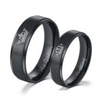 Férfi jegygyűrű, karikagyűrű, rozsdamentes acél, fekete, 12-es méret