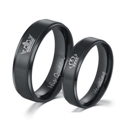 Női karikagyűrű, nemesacél, fekete, 8-as méret