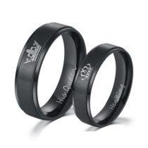 Női jegygyűrű, karikagyűrű, rozsdamentes acél, fekete, 7-es méret