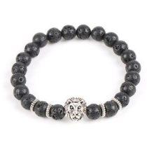 Oroszlános karkötő fekete lávakő gyöngyökkel, ezüst