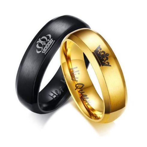 Férfi karikagyűrű, koronás, nemesacél, fekete, 9-es méret