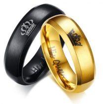 Női jegygyűrű, karikagyűrű, koronás, rozsdamentes acél, arany, 9-es méret