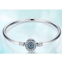 Ezüst karperec kék szem motívummal, 21 cm (Pandora stílus)