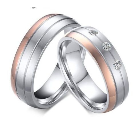 Férfi karikagyűrű, nemesacél, ezüst/rózsaszín, 9-es méret
