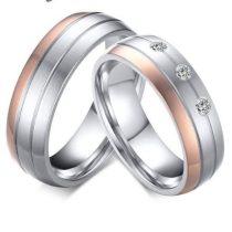 Női jegygyűrű, karikagyűrű, rozsdamentes acél, ezüst/rózsaszín, 7-es méret