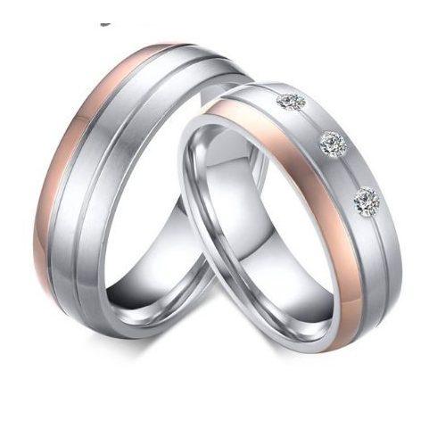 Női karikagyűrű, nemesacél, ezüst/rózsaszín, 8-as méret