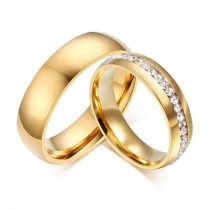 Női jegygyűrű, karikagyűrű, rozsdamentes acél, aranyszínű, 9-es méret