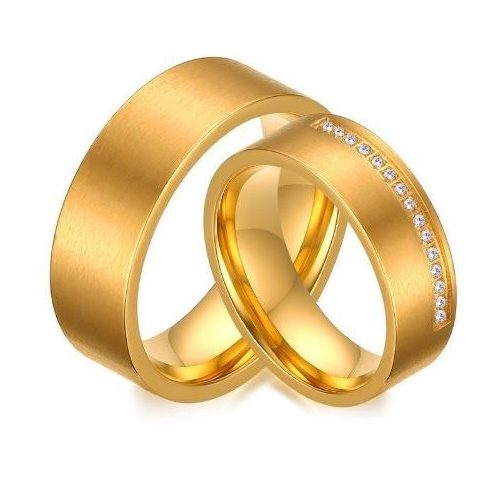 Férfi karikagyűrű, széles, nemesacél, arany színű, 9-es méret