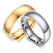 Női jegygyűrű, karikagyűrű, klasszikus stílusú, rozsdamentes acél, arany színű, 7-es méret