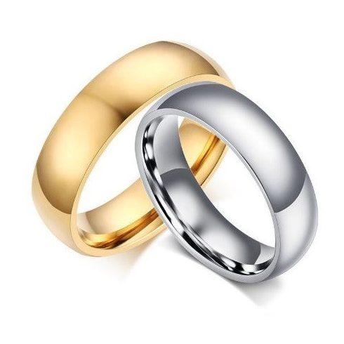 Női karikagyűrű, klasszikus stílusú, nemesacél, arany színű, 7-es méret
