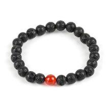 Meditációs karkötő fekete lávakővel és vörös acháttal