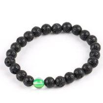 Meditációs karkötő fekete lávakővel és zöld holdkővel