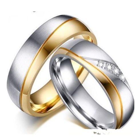 Férfi karikagyűrű, nemesacél, aranyszínű, 9-es méret