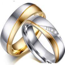 Női jegygyűrű, karikagyűrű, rozsdamentes acél, aranyszínű, 7-es méret