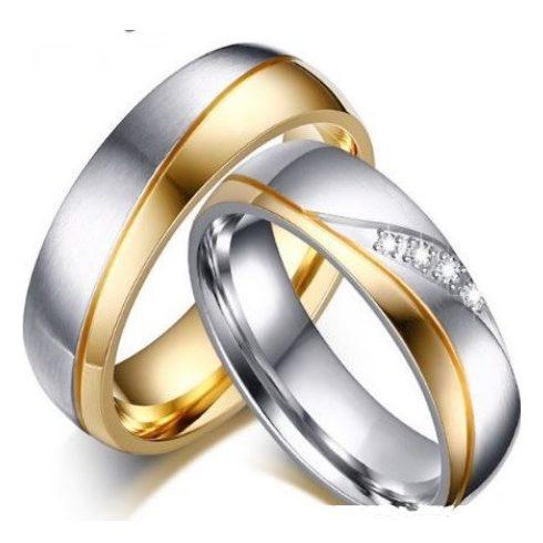 Női karikagyűrű, nemesacél, aranyszínű, 7-es méret