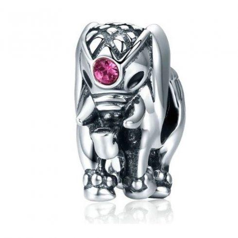 Ezüst elefánt charm cirkóniumkristállyal