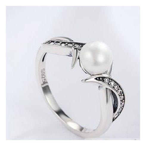 Ezüst gyűrű gyönggyel, 6-os méret (Pandora stílus)