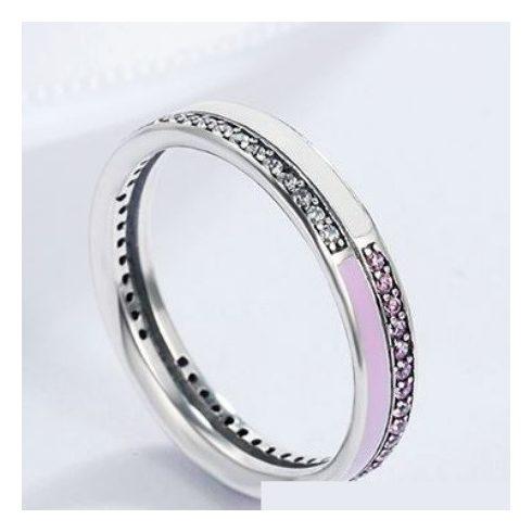 Strasszos ezüst gyűrű, pink, 7-es méret