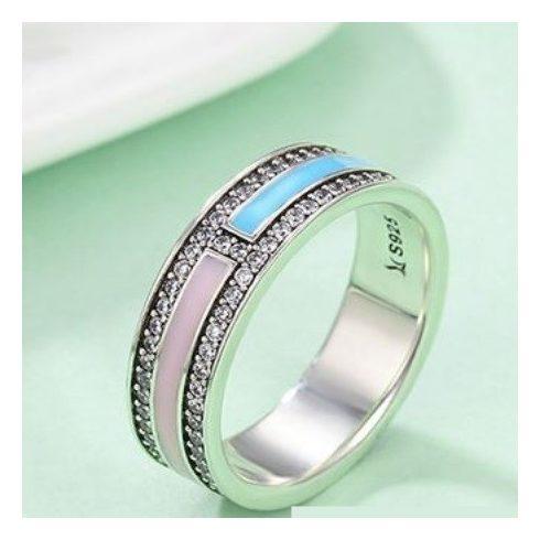 Strasszos ezüst gyűrű pink-kék, 6-os méret