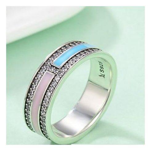 Strasszos ezüst gyűrű pink-kék, 7-es méret (Pandora stílus)