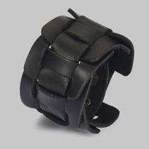 Punk karkötő, bőr, fekete, fém patenttal