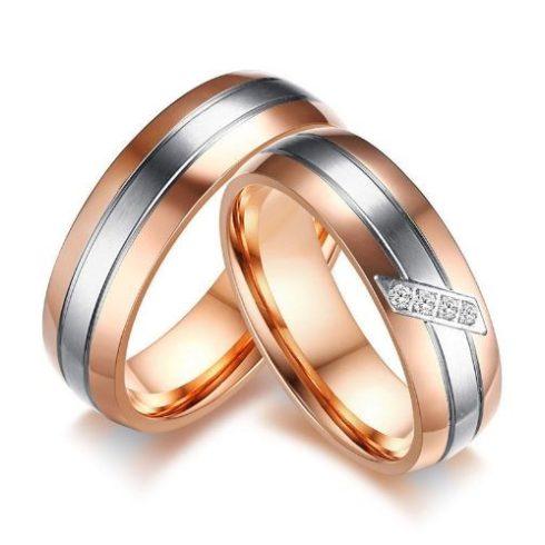 Női karikagyűrű ezüst csíkkal, nemesacél, arany színű, 9-es méret