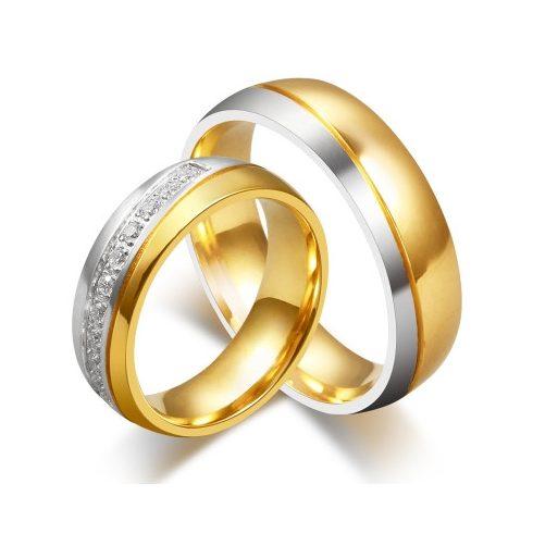 Férfi karikagyűrű ezüst sávval, nemesacél, arany színű, 9-es méret