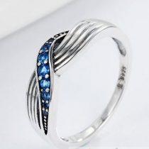 Kék fonatos ezüst gyűrű, 6-os méret (Pandora stílus)
