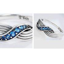 Kék fonatos ezüst gyűrű, 7-es méret (Pandora stílus)