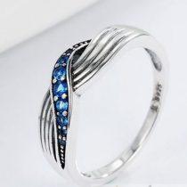 Kék fonatos ezüst gyűrű, 8-as méret (Pandora stílus)