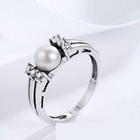 Ezüst gyűrű strasszal és gyönggyel, 6-os méret (Pandora stílus)