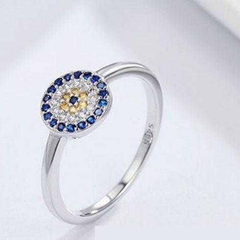 Ezüst gyűrű kék szem motívummal, 6-os méret (Pandora stílus)