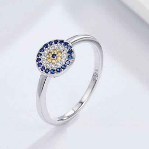Ezüst gyűrű kék szem motívummal, 7-es méret