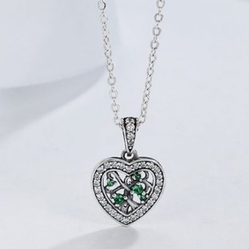 Ezüst nyaklánc szívben életfa medállal, zöld