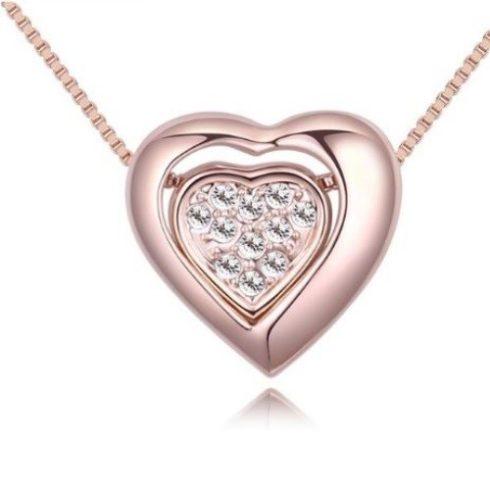 Nyaklánc kristályos szív medállal, rózsaszín arany