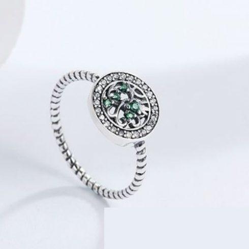 Ezüst gyűrű életfa motívummal, zöld, 7-es méret