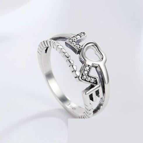 Ezüst gyűrű LOVE motívummal, 6-os méret (Pandora stílus)