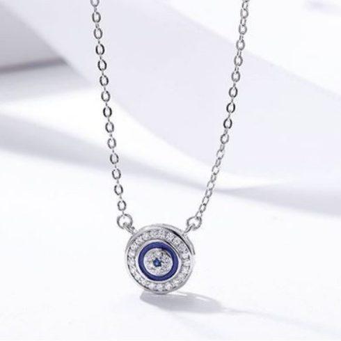 Ezüst nyaklánc kerek kristályos medállal, kék (Pandora stílus)