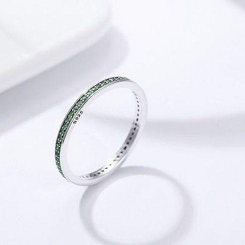 Ezüst gyűrű kristályokkal, zöld, 7-es méret (Pandora stílus)