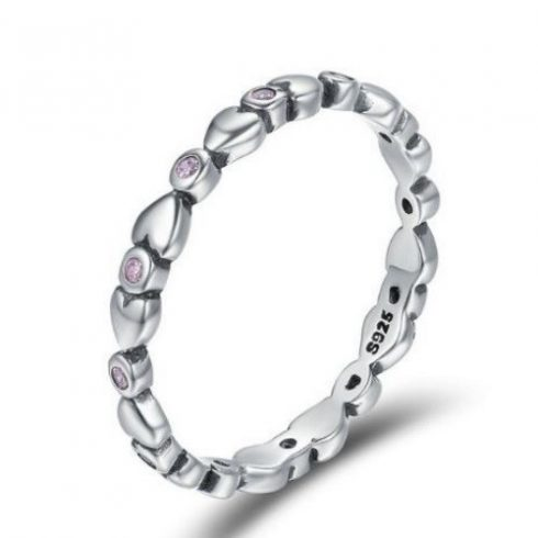 Ezüst gyűrű kristályokkal, lila, 7-es méret