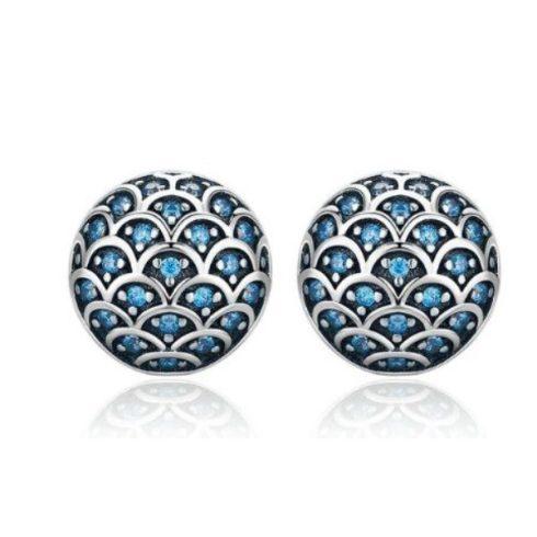 Ezüst fülbevaló hullám mintával, kék kristállyal (Pandora stílus)