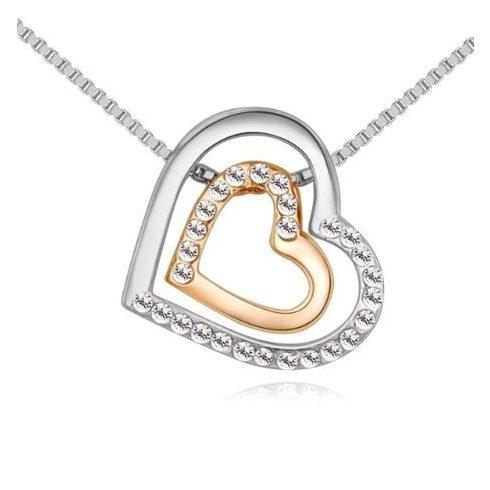 Nyaklánc dupla szívvel, cseh kristállyal, ródium/arany
