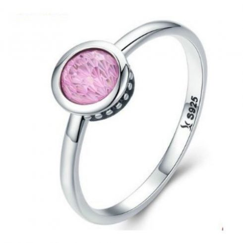 Ezüst gyűrű kristállyal, pink, 6-os méret (Pandora stílus)