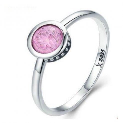 Ezüst gyűrű kristállyal, pink, 7-es méret (Pandora stílus)