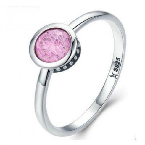 Ezüst gyűrű kristállyal, pink, 8-as méret (Pandora stílus)